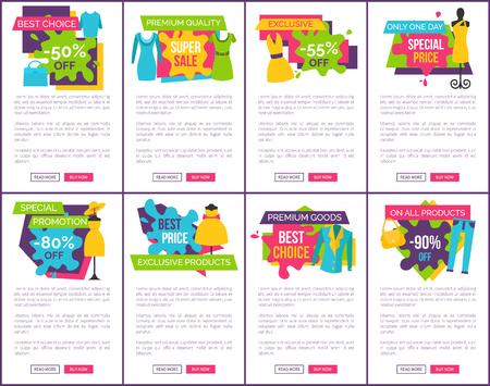 Set of Promo Badges Color Labels Exclusive Premium
