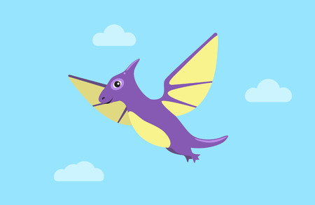 Flying Pteranodon and Clouds