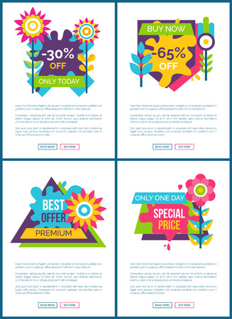 Best offer with special price promo web posters. Sale commercial banners with sample text. Sale with best offer Internet pages vector illustrations.