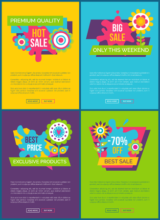 Online sale banners vector illustrations set. Exclusive sale only this weekend promotional web pages. Discount for premium goods commercial posters.
