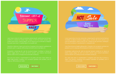 Sale for summer journey abroad promo posters set. Great discount online travel agency banners. Big seasonal sale advertisement vector illustrations. Illustration