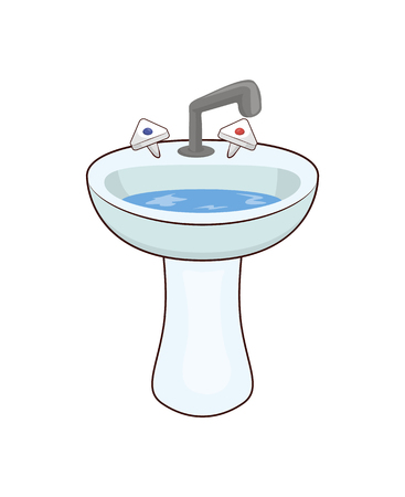 Basin with taps and water, washbasin with faucets of hot and cold water, ceramic basin of rounded shape vector illustration isolated on white background