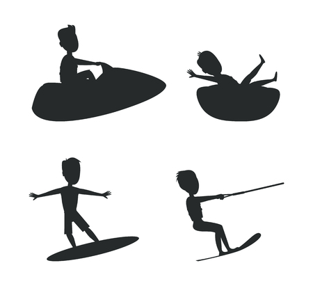 Summer silhouettes collection, surfing and kitesurfing, jet ski and donut ride set of summer sport activities, vector illustration isolated on white Ilustração