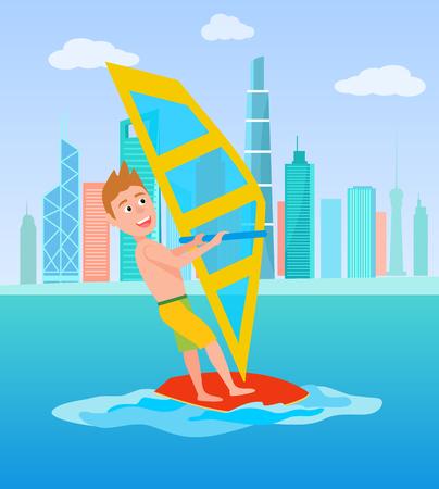 Windsurf sport estivi e attività, maschio con tavola da surf e tenendo la vela, uomo eccitato windsurf sport, illustrazione vettoriale isolato su bianco