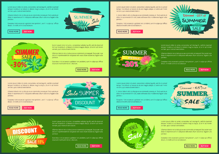 Tropical banners set push buttons promo exotic posters. Seasonal discount web pages with leaves. Big summer sale vector online leaflets collection