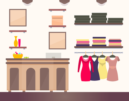 Female shop interior colorful vector illustration, elegant table with computer and bowl full of candy sweets, modern dresses show room, lot shelves on wall