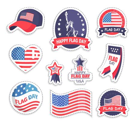 Happy Flag Day USA Day Set Vector Illustration Stok Fotoğraf