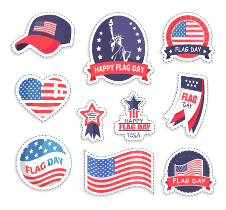 Happy Flag Day USA Day Set Vector Illustration Stock Photo