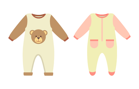 Baby clothes rompers set, collection of stretchie with print of teddy bear and pockets, child clothing with long sleeves isolated on vector illustration Illustration