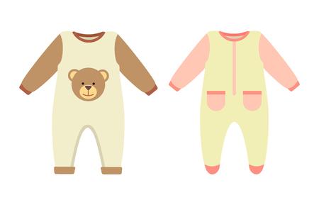 Babykleidung Strampler Set, Sammlung von Stretchie mit Druck von Teddybär und Taschen, Kinderkleidung mit langen Ärmeln isoliert auf Vektor-Illustration