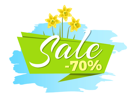 Sale 70 off sticker with daffodil narcissus bulbous, advertisement label with springtime flowers, emblem with blooming spring buds, vector illustration Imagens - 105603515