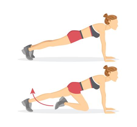 Mujer deportiva que hace ejercicios de escaladores lentos tabata, flecha y mujer con pantalones cortos y top aislado en ilustración vectorial Ilustración de vector