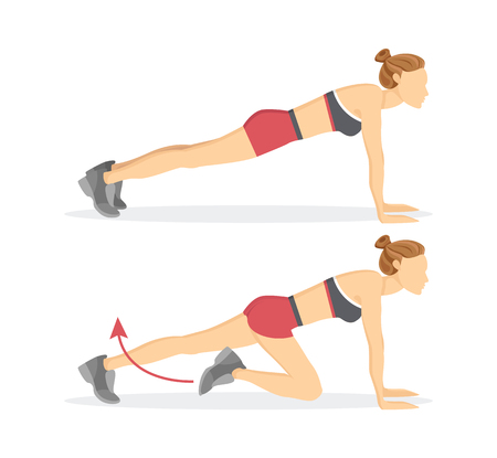 Sportive woman doing slow climbers exercise tabata, arrow and female wearing shorts and top isolated on vector illustration