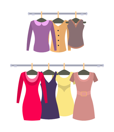 Female stylish casual tops and dresses hang on racks set. Elegant costume on hangers. Brand new woman clothes isolated vector illustrations