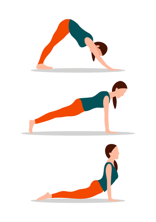 Woman and active way of living, push ups and pose of yoga, flexible lady vector illustration isolated on white background Illustration