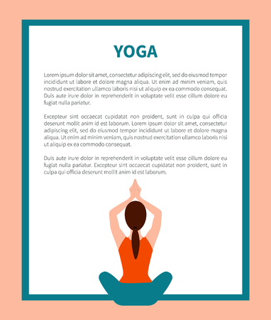 Yoga sitting pose with raised hands above head banner, sport position of active woman, text sample and headline vector illustration isolated Illustration