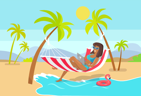 Woman works as freelancer in hammock with laptop. Suntanned girl work on freelance bases right at tropical beach under palms vector illustration. Stock Illustratie