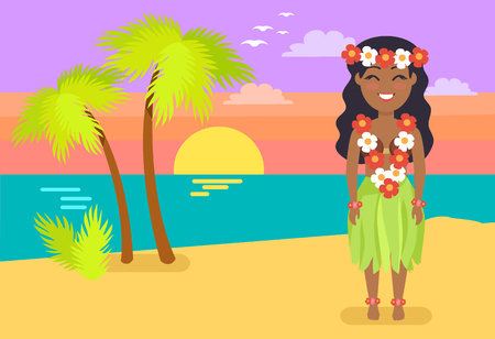 Jamaican woman in national costume on sandy beach. Girl with flower beads. Female on ocean coast cartoon vector illustration native habitant Illustration
