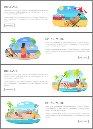 Freelance and distant work promotional banners set. Men and women in swimwear work at tropical beach. Workers at resort vector illustrations. Иллюстрация