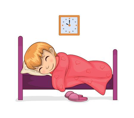 Niña durmiendo tranquilamente en la habitación, reloj que muestra la hora, cama y manta con estampado de corazón, niño dormido con sonrisa, ilustración vectorial aislado en blanco