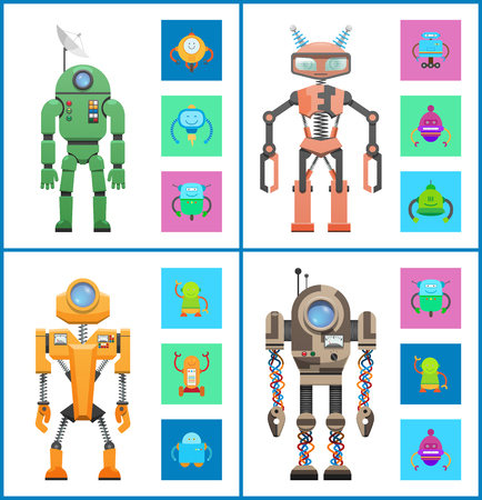 Robot images collection, creatures made of metal material and mind with satellite dish, set vector illustration isolated on white background Illustration