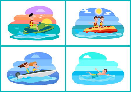 Human summer activities set collection of sports boating and banana boat, jet ski and swimming vector illustration isolated on white background