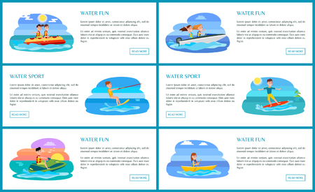 Water fun and sport collection, banana boat and jet ski, boating and kitesurfing, set of posters with text sample vector illustration