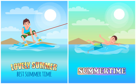 Best lovely summertime, color vector illustration, sunny day, happy swimmer, wakeboarding sport training time marine water waves with bubbles vector