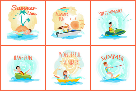 Summer time posters collection of people going in for sport, fun adventures set of banners with headlines, isolated on vector illustration
