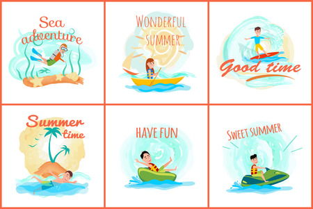Sea adventure and summer collection of banners and headlines, scuba diving and boating, surfing and sea adventure of summer set vector illustration Illustration