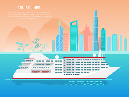Cruise liner poster and text sample, buildings and ship floating on water, tree and mountains, cruise liner banner isolated on vector illustration Illustration