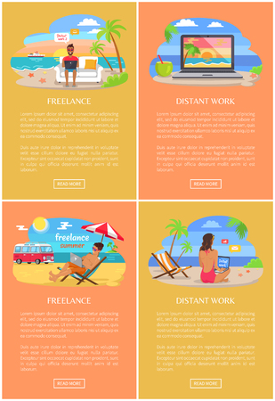 Distant work and freelance bright banners. People work on beach near ocean. Freelancers with laptops at beach resort web pages vector illustrations.