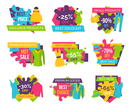 Set of promo badges colorful labels exclusive premium goods choice buy now advertisement stickers clothing apparels dresses, t-shirts and jackets vector