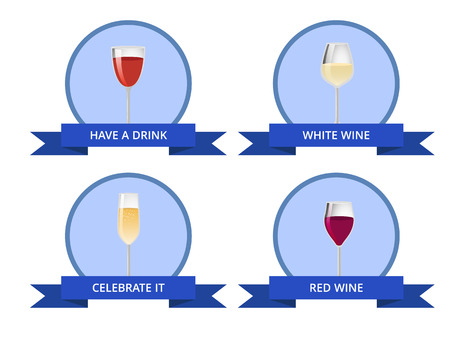 Have a drink white and red wine celebrate it card, vector illustration with various drinks in cute glasses isolated in blue circles, ribbons with text Illustration