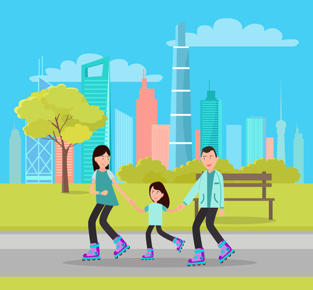 Happy family roller skating in city park on background of skyscrapers vector of mother father and daughter on rollers near bench, summer activity