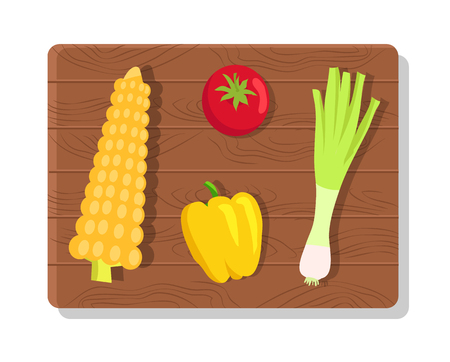 Vegetables on wooden board, vegetables of summer picnic, corn and pepper, onion and tomato, picnic collection vector illustration isolated on white Illustration
