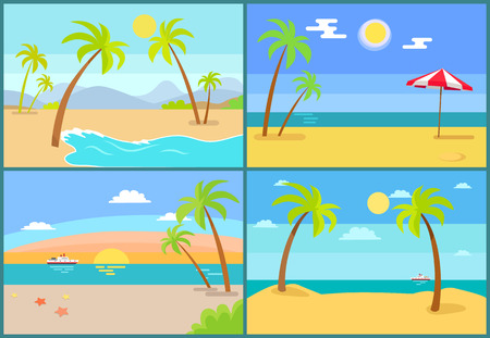 Seascape and palms collection, sea and umbrella, tropic trees on coast, set of seascapes with beach, recreation and vacation vector illustration