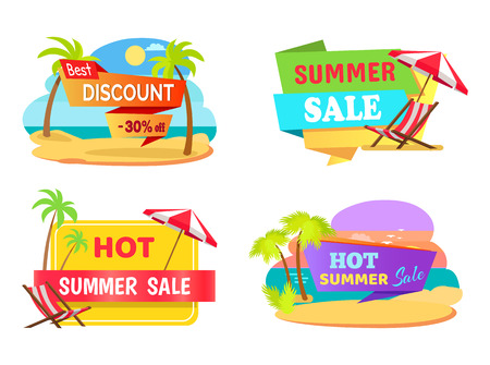 Summer Sale Emblems with Tropical Beaches Set