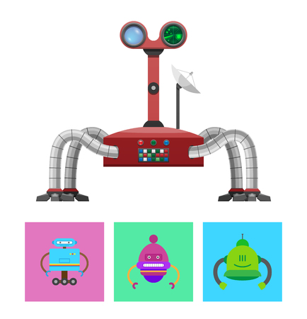 Technology and Creatures Set Vector Illustration Illustration