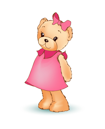 Modest female teddy bear wearing pink dress and bow on its head, shy fluffy toy, poster and image vector illustration isolated on white background Ilustrace