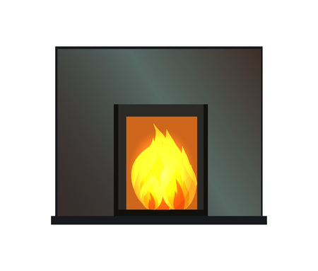 Black rectangular fireplace, color vector template, illustration with working hearth isolated on white backdrop, bright flame, house interior item