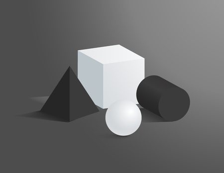 Sphere and cylinder vector cube figure collection, square pyramid, different shape figures illustration circle and square black and white prisms set