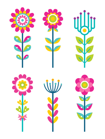Wild field flowers in colorful ornamental design set. Unusual florets of bright pieces. Plant with blossom on long stem isolated vector illustrations Illustration