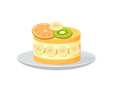 Beautiful fruit cake poster with fresh orange and kiwi on the top of it and yummy bananas on sides on plate, vector illustration isolated on white background
