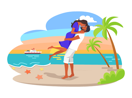 Couple cuddling by seaside man and woman kissing, summer and happy times for couple, sunset and palms vector illustration isolated on white background