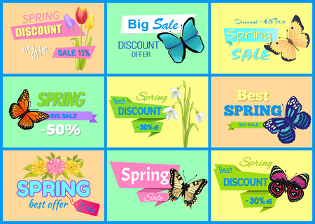 Spring discount new offer, posters set with tulips, snowdrops and gerbera, butterflies and spring discounts collection isolated on vector illustration
