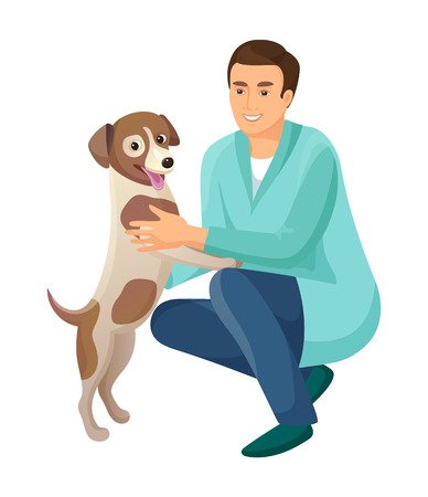 Man and friendly happy dog person and pet dog standing on paws wagging tail and man smiling at him vector illustration isolated on white background