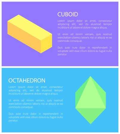 Bright Colors Cuboid and Octahedron Templates Illustration