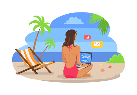 Woman in swimsuit works on laptop at exotic beach. Freelance worker at beach resort. Girl works as freelancer under tall palms vector illustration.