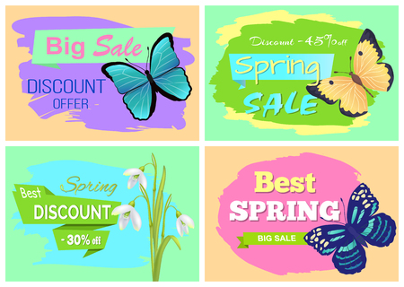 Set of spring sale advertisements with springtime discount offers and tags, colorful butterflies, snowdrops blooming flowers vector illustration Illustration